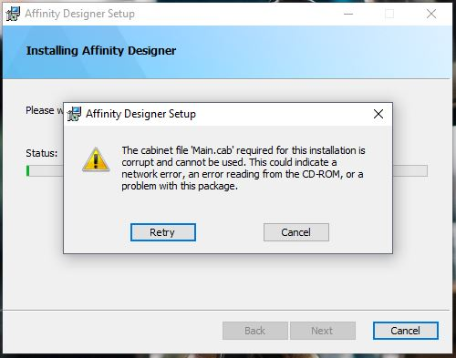 Affinity Designer] failed during installation - Affinity on