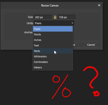 Resize - By Percent - Feedback for Affinity Photo on Desktop