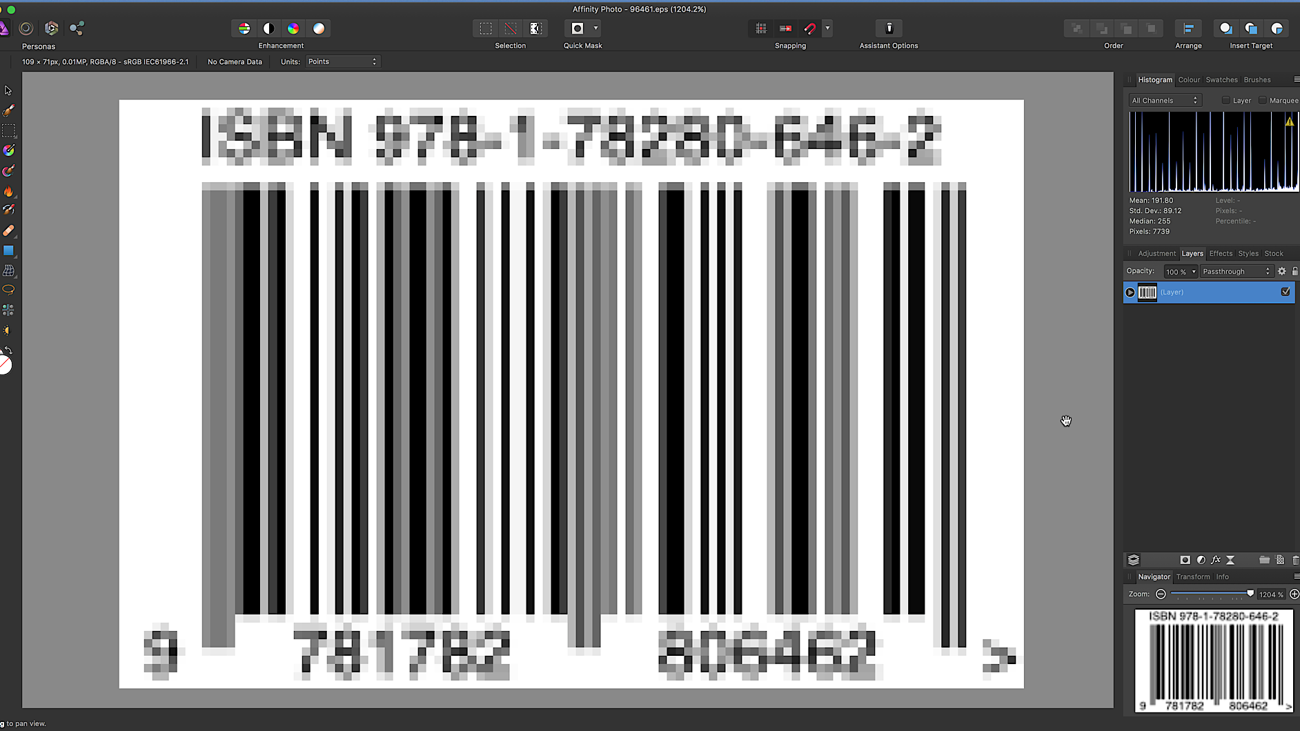 Changing barcode colors - Affinity on Desktop Questions (Mac