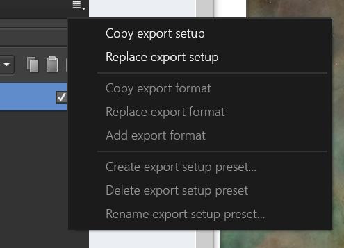 Create export setup preset