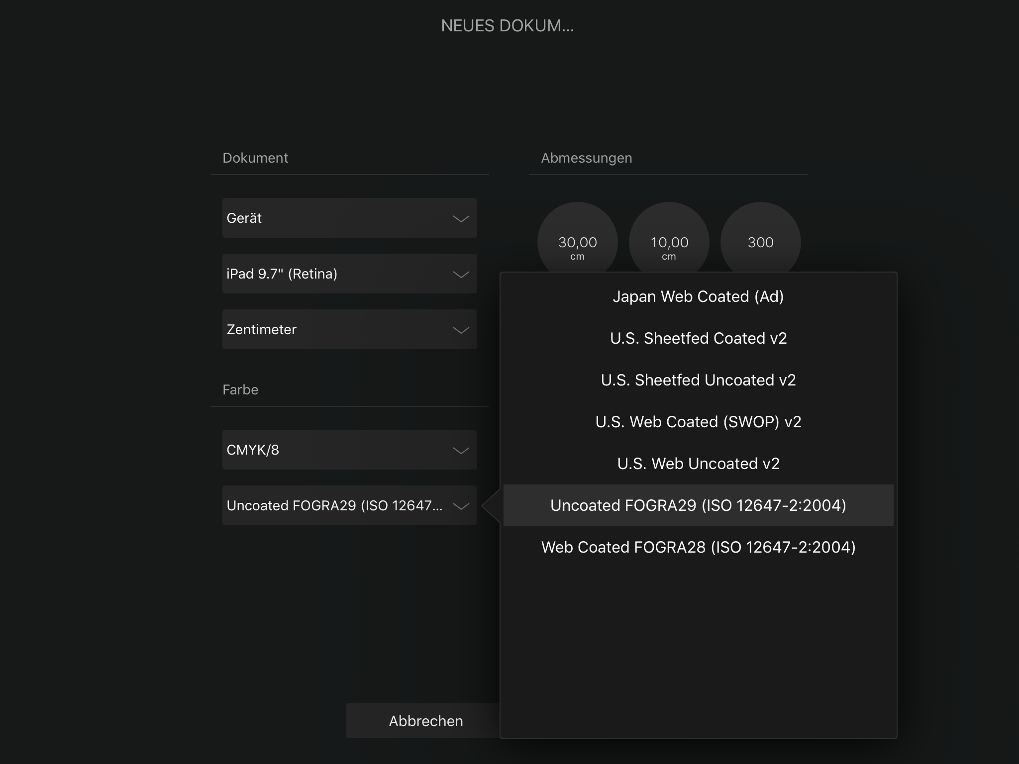 Affinity Designer on iPad: ICC Profiles - Affinity on iPad