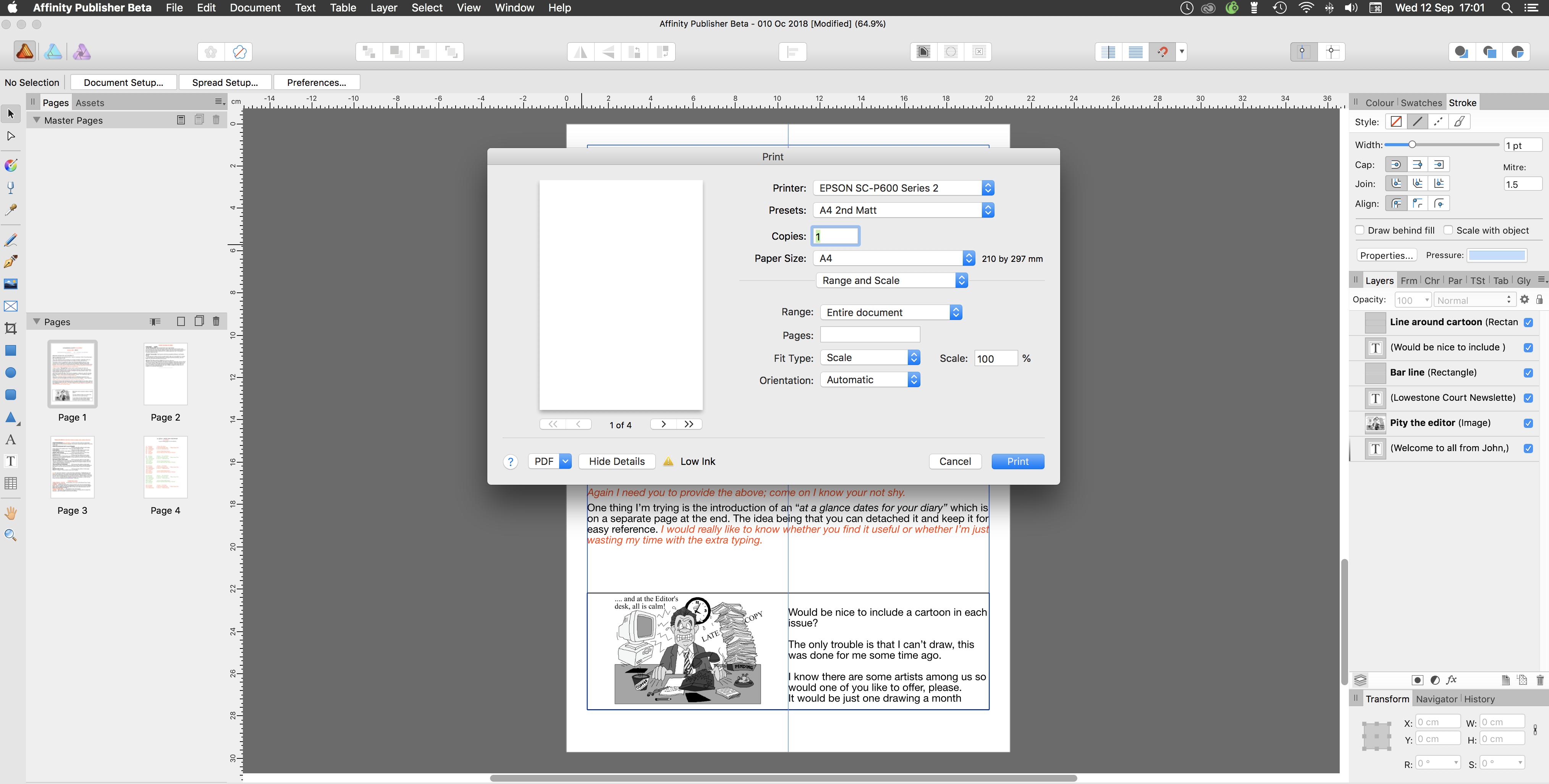 Printing won't work for me - Publisher beta on Mac