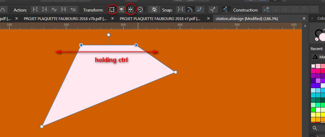 Designer - Free transform tool (perspective distort) - Affinity on