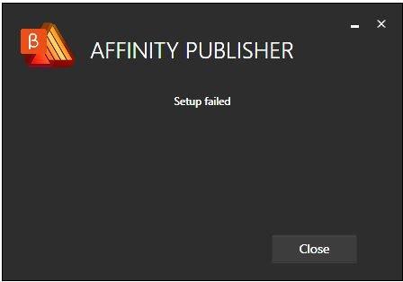 Affinity Publisher Beta 1-7-0-58 failure.JPG