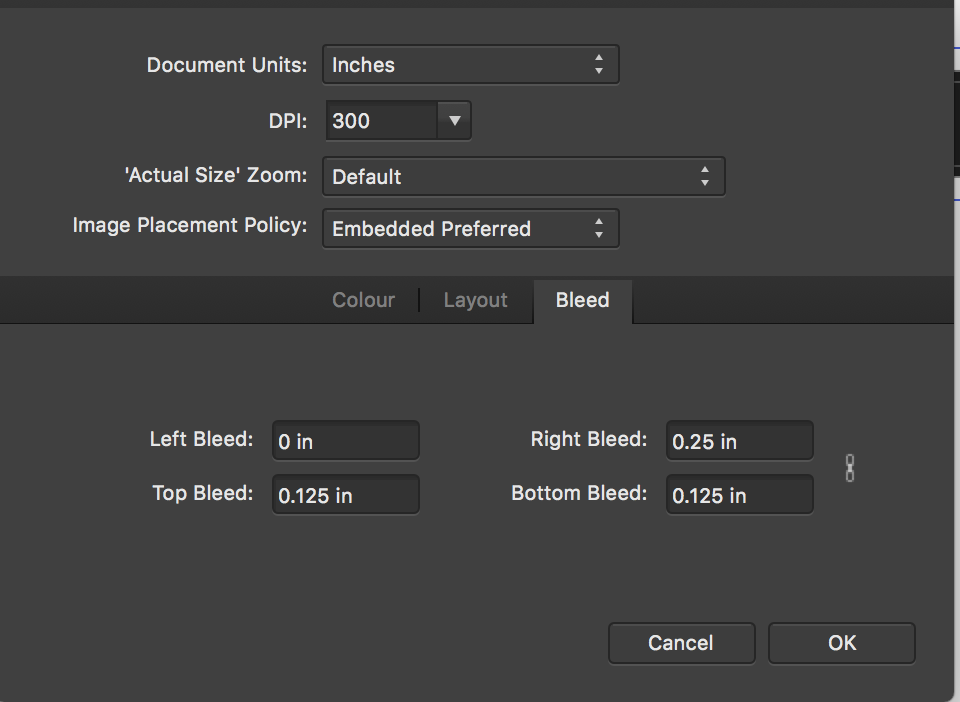 indesign custom paper size greyed out