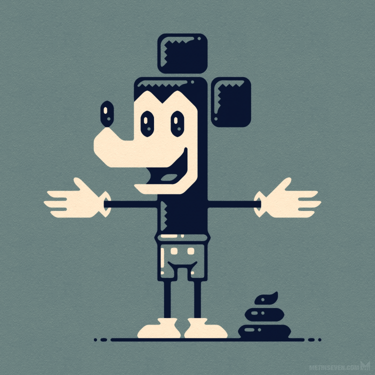 metin-seven_2d-vector-graphic-illustrator-illustrations_mickey-cartoon-satire-turd-poop.png