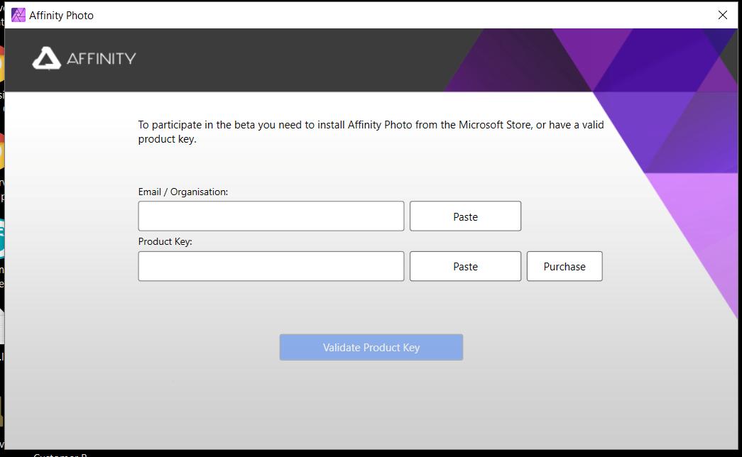 affinity photo customer beta product key