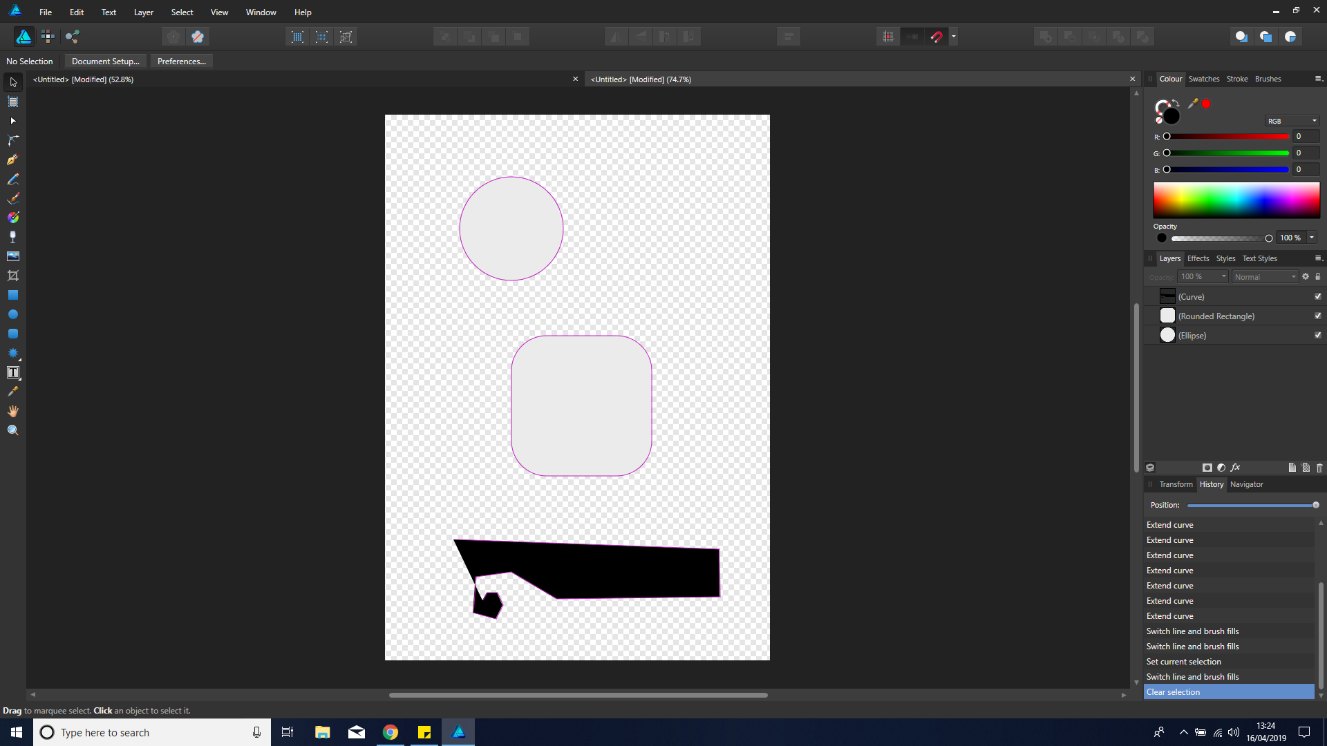 AD: Every shape has a purple outline but I have no outline selected