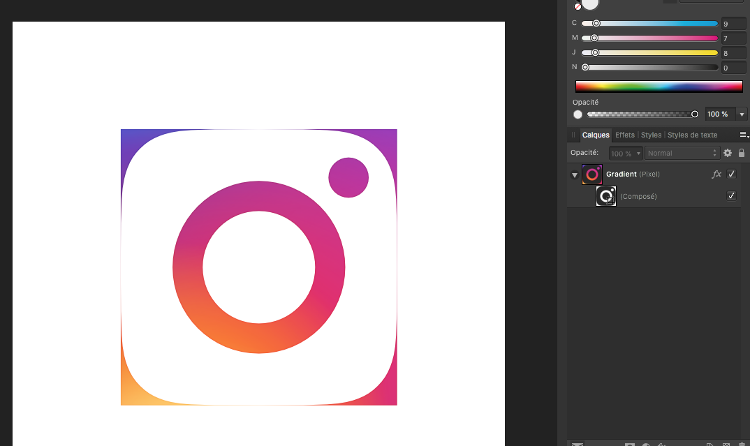 Importing Instagram logo PSD file in Affinity Designer - Affinity on