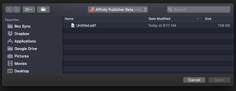 Affinity Publisher iCloud