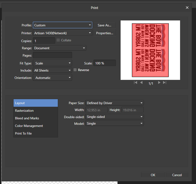 Designer Print Preview Tinted Red - Affinity on Desktop
