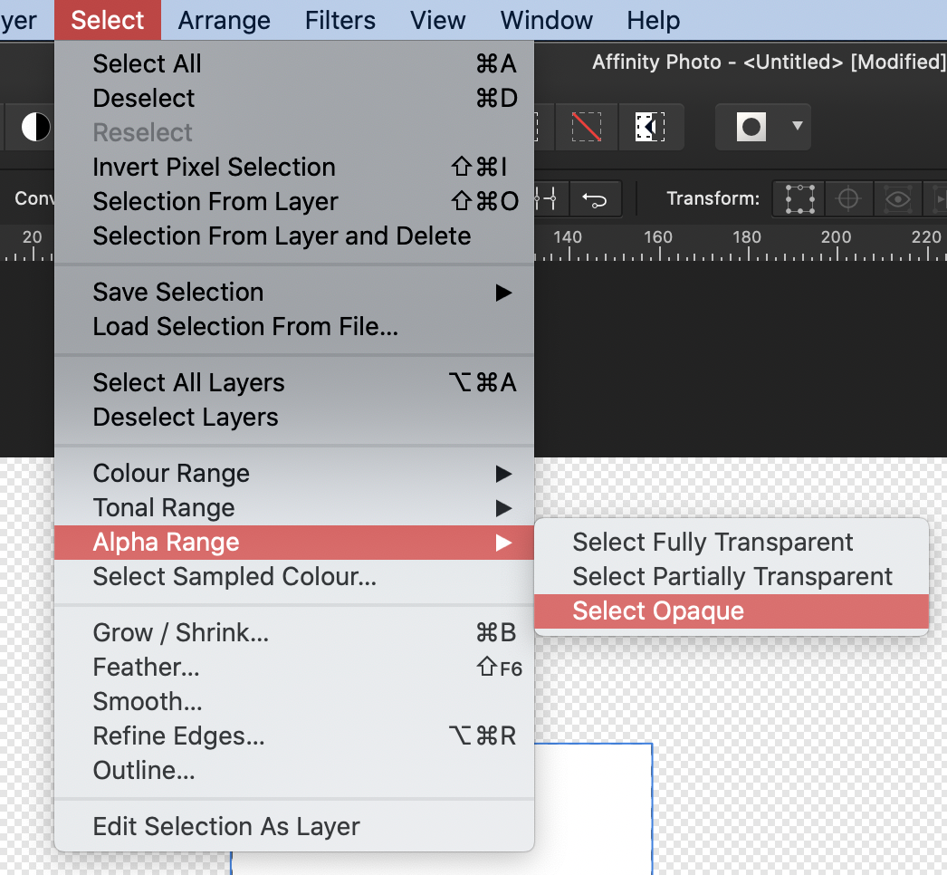 Selecting alpha ranges in Affinity Photo
